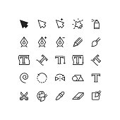 Set of cursor graphic tools vector outline icons.