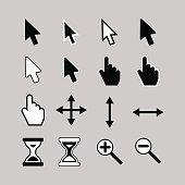 Set of cursor icons: arrow, hand, hourglass,magnifier.