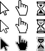 Vector illustration hand cursor hourglass. Black and white illustration