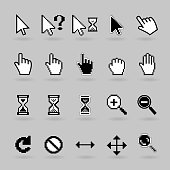 Pixel and smooth vector cursors icons. Hand, magnifier  and  hourglass