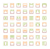 Curtains & blinds. Window drapes. Different styles of draperies. Roman, roller, pleat, panel, beaded shades. Line icon collection. Isolated objects on white background.