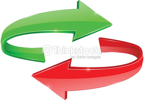 Curved Arrows Green And Red Right Left Vector Art