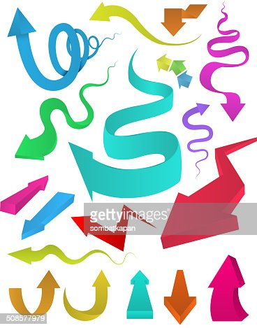 Curved arrows multi colour set. : Vector Art