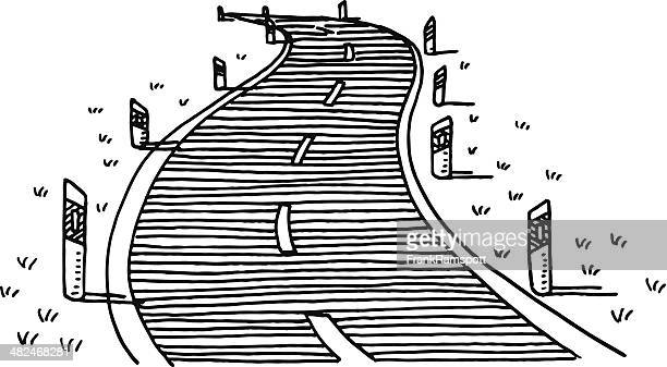 Illustrations et dessins anim s de route sinueuse getty - Dessin de route ...
