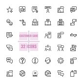 Customer care vector illustration thin line 48x48 Pixel Perfect 32 icon set for business, customer, communication, help, support, information, technology, telemarketing, testimonials. Editable Stroke