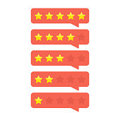 Review rating bubble with gold stars rate. Customer feedback concept. Template of reviews stars rate. Rank or level of satisfaction rating. Vector illustration in flat style. EPS 10.