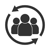 Customer interaction icon. Client returning or renention symbol