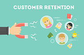 Customer retention concept. Hand with magnet tries to appeal clients.