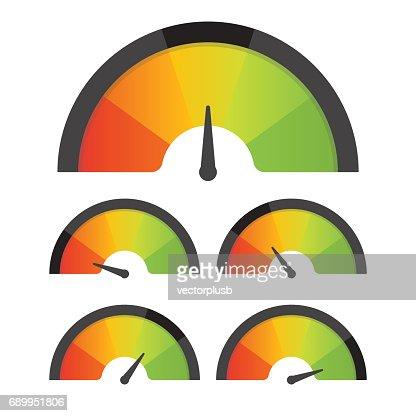 Customer satisfaction meter speedometer set. Vector illustration : stock vector