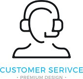 Customer service icon. Human silhouette with headset, man with headphones and microphone. Technical support, call center, client service, customer support logo. Vector thin line icon isolated on white