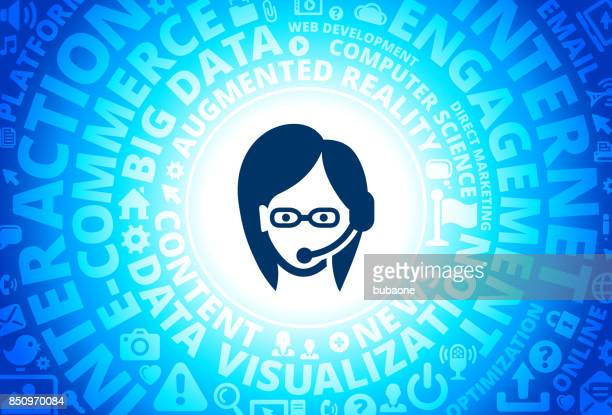 Customer Service Icon on Internet Modern Technology Words Background
