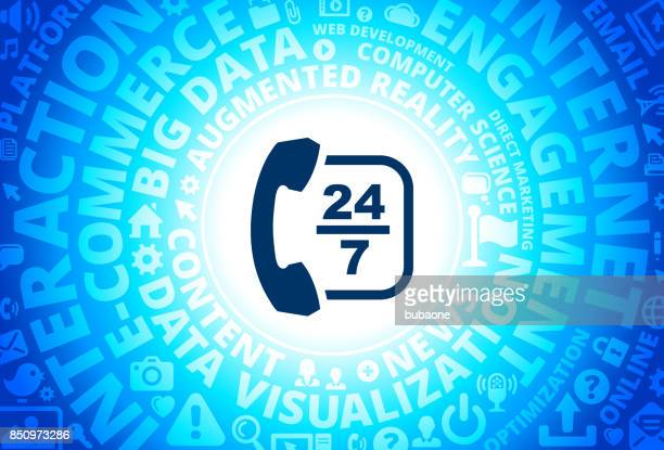 24/7 Customer Service Icon on Internet Modern Technology Words Background