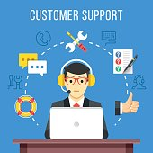 Customer support. Call center operator with headset at computer. Flat icons and thin line icons set, modern flat design graphic elements for web banners, websites, infographics. Vector illustration