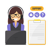 Customer support service concept. Girl takes calls from customers. Vector flat style illustration