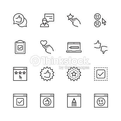 Customer testimonials icon set in thin line style : stock vector