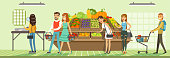 Customers people bying products in supermarket, store shelves with fresh vegetables, supermarket interior design horizontal vector Illustration, web design