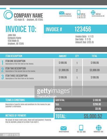 Customizable Invoice Template Design Vector Art Thinkstock