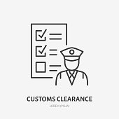 Customs clearance flat line icon. Policeman inspecting luggage sign. Thin linear logo for cargo trucking, freight services.