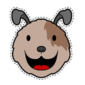Cut dog face dotted sticker. Vector illustration design