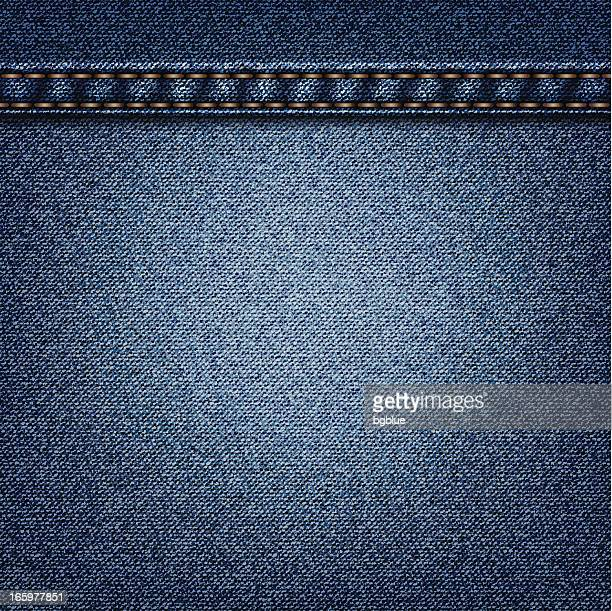 A cut of blue colored denim with orange lines sowed in