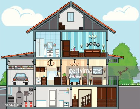 cutaway of house vector art getty images