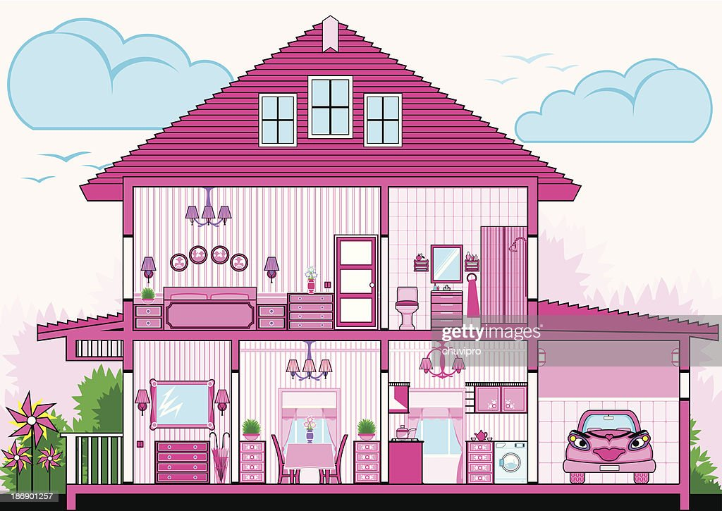 cutaway of pink house with furniture vector art getty images