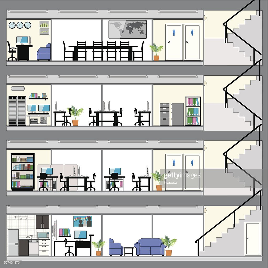 Cutaway Office Building With Interior Design Plan Vector Art