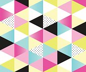 Cute 80's style seamless geometric pattern with triangles for your decoration