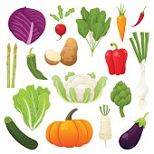 Cute and tasty vegetables collection. Vector illustration.