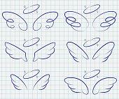 Cartoon angel wings doodle vector icon set.