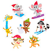 Cute little animal characters doing winter activities, having fun, cartoon vector illustration isolated on white background. Set of baby animal characters having fun in winter, playing outside
