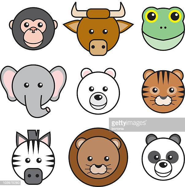 Cute Animal Faces Icons
