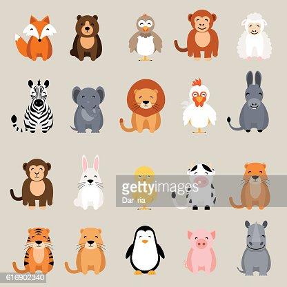 Cute animal set. Fox, bear, rooster, lion, rhino, cow, zebra : Arte vectorial