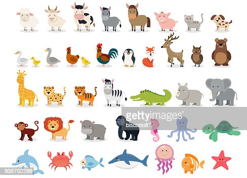 Cute animals collection: farm animals, wild animals, marina animals isolated on white background. Vector illustration design template : stock vector