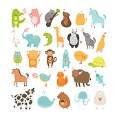 Cute animals collection. Vector pig, rabbit, monkey, lion, sheep, bird,goose, panda, koala, chicken, fox, cow, jellyfish, cat, hen, dog, fox, elephant, crocodile, unicorn, giraffe, owl, turtle, horse,