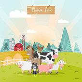 cute animals farm cartoon in organic rural farm. vector illustration