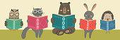 Cute animals reading books. Children's education illustration.