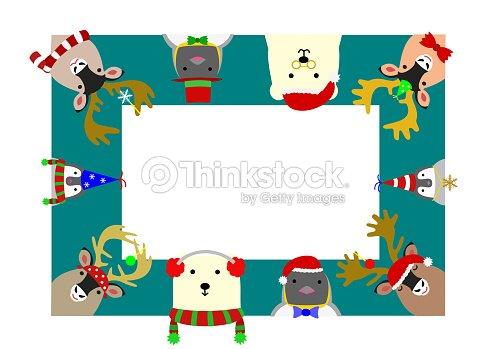 cute arctic animals rectangle frame vector art thinkstock