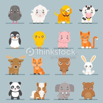 Cute baby animals cartoon cubs flat design icons set character vector illustration