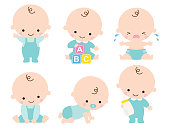 Cute baby or toddler boy vector illustration in various poses such as standing, sitting, crying, playing, crawling.