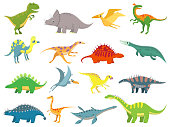 Cute baby dinosaur. Dinosaurs dragon and funny dino character. Fantasy cartoon colorful prehistoric happy dinosaurs wild animal tyrannosaurus rex stegosaurus figure vector illustration isolated set