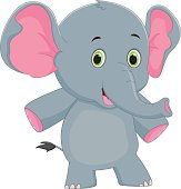 Cute Baby Elephant Cartoon Vector Art Thinkstock