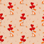 Cute baby fox and Valentine balloon seamless pattern.