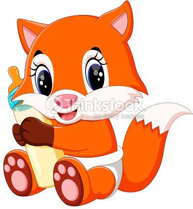 Cute baby fox cartoon vector art thinkstock - Clipart renard ...