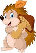 illustration of Cute baby hedgehog holding mushroom