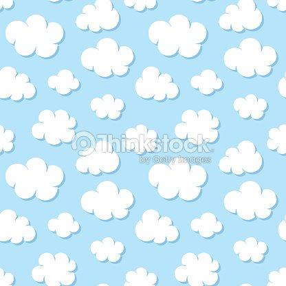 Cute Baby Seamless Pattern With Blue Sky With White Clouds Flat