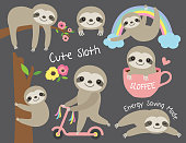 Vector illustration of cute baby sloth in various activities such as sleeping, riding bike, climbing and hanging from a tree.