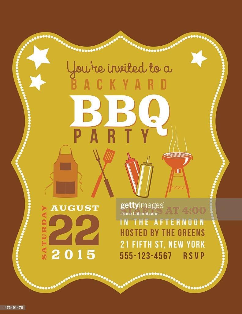 süße einladung vorlage mit barbecuegrill und sternen vektorgrafik, Einladungen