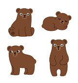 Set of cute cartoon bear cubs with funny faces and different poses. Simple, modern style vector illustration.