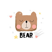 Cute bear face in cartoon style. Hand drawn vector illustration with texture effect and inscription - bear.